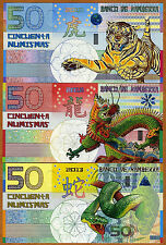 SET Kamberra,  50;50;50 China Lunar 2010-2012-2013 UNC > Tiger, Dragon, Snake