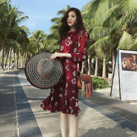 Korean Women's Loose Sundresses Long-sleeve Long Floral Chiffon Beach Dress F Jc