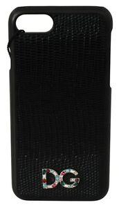 DOLCE & GABBANA Phone Case Pattern Leather Black Crystal Logo iPhone 8