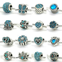Blue Crystal European CZ Charm Beads Fit Sterling 925 Silver Bracelet Necklace
