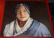 22 x 20 Handcraft Oil Painting on Canvas Tibetan Beauty Portrait
