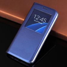 Cover Custodia Flip a Libro Pelle con Finestra Samsung Galaxy S6 S7 Edge Note 7