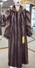"Natural Letout Raccoon 52"" Coat with Diagonal Sleeve Design; sz 12-14"