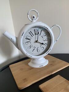 BRAND NEW White Tea Pot novelty clock wall free standing