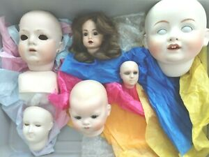 Lot of Ceramic Doll Heads from dollmaker estate Glass Eyes, Wig most painted