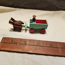Wooden Vintage Erzgebirge Gdr. Putz Village Wagon with driver and Horses.
