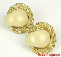 DONALD STANNARD Cream Enamel Twisted Rope Gold Tone Clip On Earrings