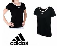 adidas performance Aspire Women's Tennis T-shirt Tee Black AI1147  BNWT free del