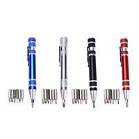 Convenient 8 in 1 Aluminum Precision Multi-Tool Screw Driver Pen Set Tool DSUK