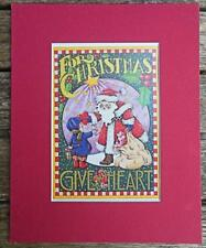 "Mary Engelbreit Print Matted 8 x 10"" ""For Christmas Give Your Heart"" Santa"