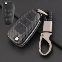 Carbon Fiber Design Shell+Silicone Cover Holder Fob Case  For  Ford Remote Key B