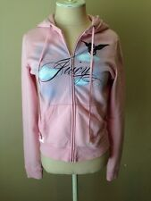 Juicy Couture Womens Jacket Pink Airbrushed Zip Front Hoodie Size L