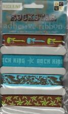 Rock Star King Adhesive Bibbons Pack 4 Styles 1 Yd Ea DCWV Guitars Peel & Stick