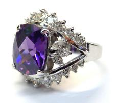 14k White Gold Antique Cushion Cut Amethyst Diamond Accent Ring #E