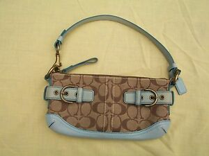 Coach Signature Fabric Hand bag purse clutch leather tan & blue