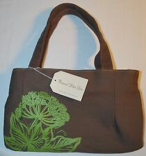 NWT Crabtree & Evelyn Canvas Fabric Eco Market Shopper Lunch Tote Brown Green