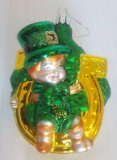 Irish - St. Patrick's Day Ornament Lucky Baby Leprechaun with Horseshoe, Glass
