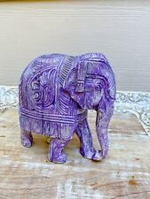 "Vintage Wooden Hand Carved Elephant Indian Solid Wood Purple Boho Decor 6"""