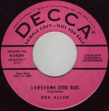 REX ALLEN L-o-n-e-s-o-m-e Letter Blues ((**RARE 45 DJ**)) NEAR MINT from 1954