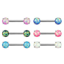 Front Facing Opal Glitter Nipple Bar With 316L Surgical Steel Barbell