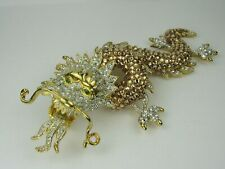 Large Unbranded Rhinestone Dragon Brooch, Fashion Statement Piece, Gold Color