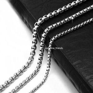 2 - 5 mm BoxKette Halskette Edelstahl Erbsenkette 40-90cm Damen Herren