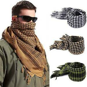 Mens Womens Tactical Army Arab Scarf Desert Shemagh KeffIyeh Military Neck Wraps