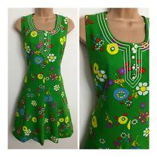 Vintage 60's Mod Dolly Green White Yellow Floral Daisy Braid Trim Shift Dress 14