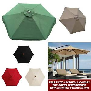 6 Ribs Waterproof Patio Umbrella Canopy Top Cover Replacement Fabric Cloth 2m/3m