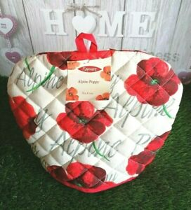 """Vtg Rayware Cream & Red Alpine Poppy Floral Quilted Tea Pot Cosy 11""""h x 12.5""""w"""