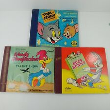 kd Record Reader Lot of 3 Book Sets - Bugs Bunny Woody Woodpecker Tom and Jerry