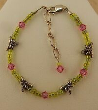 Little Girl Dragonfly Beaded bracelet with green seed beads & Pink Swarovski cry