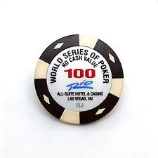 WSOP WORLD SERIES OF POKER TOURNAMENT CHIP $100 · RIO CASINO LAS VEGAS NEVADA BJ