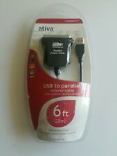 Ativa USB to Parallel Printer Cable 6ft Adapter Cable New Factory Sealed 1.8 mtr