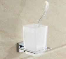 Bathroom Dull Polish Cups Toothbrush Tumbler Holder Chrome Alloy Wall Mounted