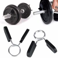 """1.4m Chrome Barbell Straight Weight Lifting Heavy Duty 1/"""" Spring Collars Bar Gym"""