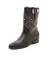Schutz Aliria Studded Leather Boot Size 7 Black