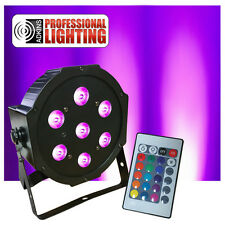 Ultra Bright LED FlatPar 7x10 Watt Quad RGBW SlimPar Light - w/ Remote Control -