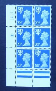 GB REGIONAL: SCOTLAND SG S46 MACHIN 20½p :: CYL BLOCK 1A/1B :: MNH