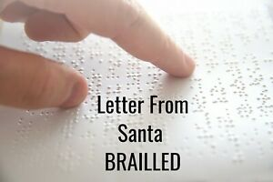 LETTER FROM SANTA - EMBOSSED BRAILLE - Visually Impared, Blind , Personalised