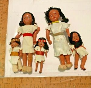 Vintage Lot Celluloid Japan Made Native American Indian Dolls Jointed Arms/Legs