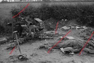 WWII WK  photo allemande KIA Terrific kampf  position Canon détruit 100% origi
