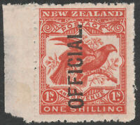 NEW ZEALAND 1907/11 SG O65 1s ORANGE RED OFFICIAL MINT HINGED MARGINAL