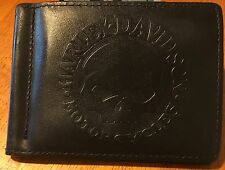 rare Harley Davidson Willie G Skull Leather Wallet / Money Clip
