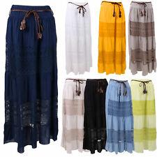 Womens Italian Lagenlook Viscose Braided Belted Crochet Net Maxi Ladies Skirt