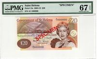 Saint Helena PMG Certified Banknote Specimen 20 Pounds UNC 67 EPQ Superb Gem 13s