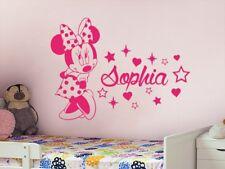 Cute Minnie Mouse Custom Baby Name Vinyl Wall Sticker Kid Bedroom Nursery Decor