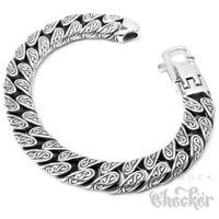 Verziertes Herrenarmband mit S-Muster Edelstahl 22cm Hochwertiges Bikerarmband