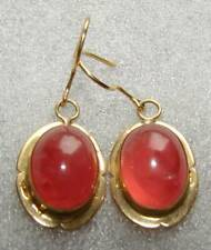 NATURAL TRANSLUCENT PINK ROSE RHODOCHROSITE CABOCHON EARRINGS 18K YELLOW GOLD