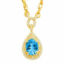 2 1/4 ct Natural Swiss Blue Topaz & 1/3 ct Diamond Necklace in 14K Gold